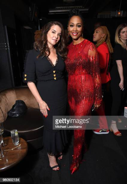 Annabella Sciorra and Simone Missick attend the Netflix Original Series Marvel's Luke Cage Season 2 New York City Premiere on June 21 2018 in New...