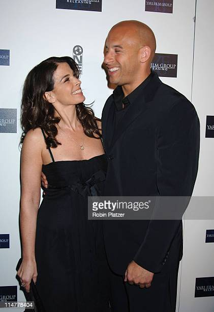 Annabella Sciorra and Vin Diesel during Find Me Guilty New York Premiere Inside Arrivals at Sony Lincoln Square in New York City New York United...