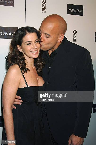 """Annabella Sciorra and Vin Diesel during """"Find Me Guilty"""" New York Premiere - Inside Arrivals at Sony Lincoln Square in New York City, New York,..."""
