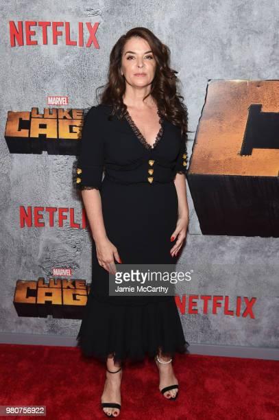 Annabella Sciorra attends the Luke Cage Season 2 premiere at The Edison Ballroom on June 21 2018 in New York City