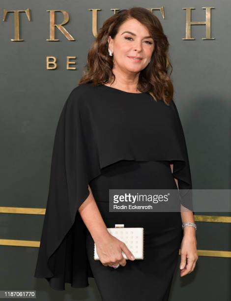 Annabella Sciorra attends the Premiere of Apple TV's Truth Be Told at AMPAS Samuel Goldwyn Theater on November 11 2019 in Beverly Hills California