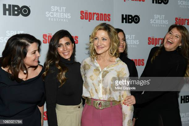 Annabella Sciorra JamieLynn Sigler Edie Falco Ilene S Landress and attend the 'The Sopranos' 20th Anniversary Panel Discussion at SVA Theater on...