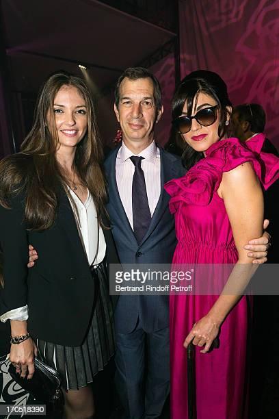Annabelle Belmondo Piaget CEO Philippe LeopoldMetzger and Melody Gardot attend the Piaget Rose Day Private Event in Orangerie Ephemere at Jardin des...