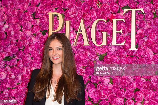 Annabelle Belmondo poses during the Piaget Rose Day Private Event in Orangerie Ephemere at Jardin des Tuileries on June 13 2013 in Paris France