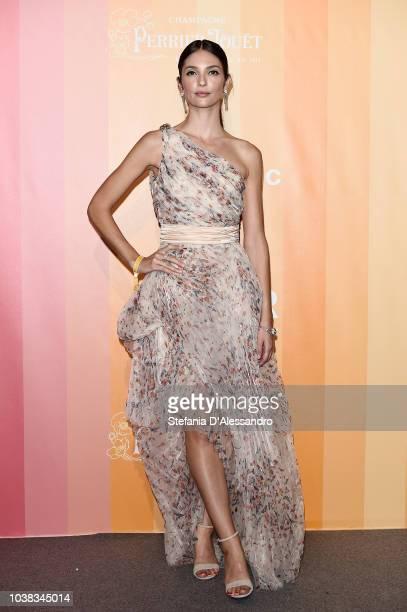 Annabelle Belmondo walks the red carpet ahead of amfAR Gala at La Permanente on September 22 2018 in Milan Italy