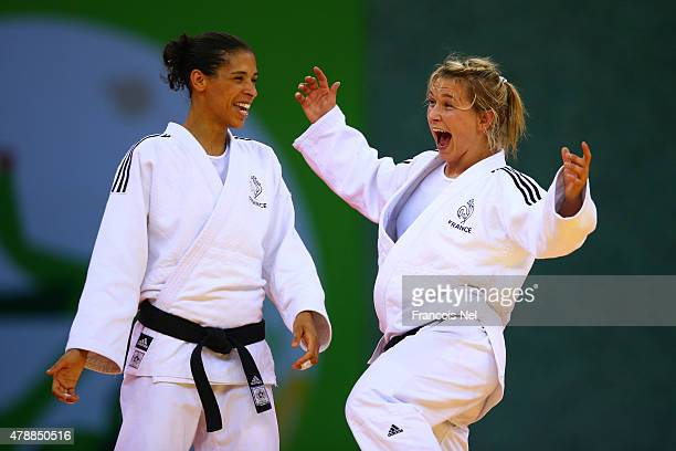 Annabelle Euranie and Laetitia Blot of France celebrate winning the gold in the Women's Team gold medal match during day sixteen of the Baku 2015...