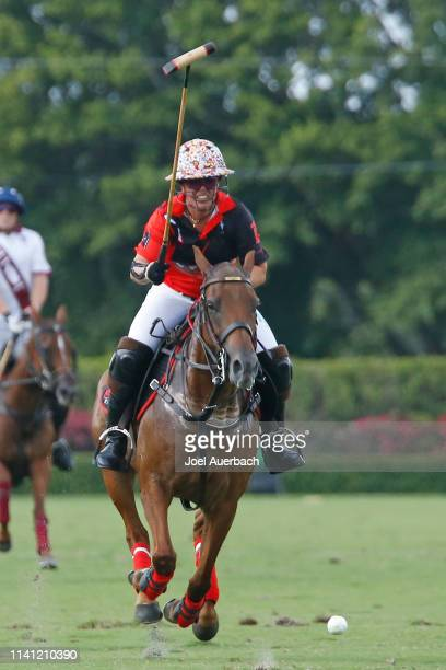 Annabelle Gundlach of Postage Stamp bring the ball up field against Pilot during the 2019 Captive One US Open Polo Championship on April 7 2019 at...