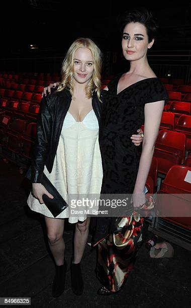 Annabelle Horsey and Erin O'Connor pose backstage at the Vivienne Westwood Red Label show during the London Fashion Week a/w 2009 at Olympia on...