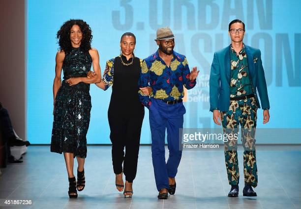 Annabelle Mandeng and Samson Soboye walk the runway at the 1981 Maxhosa By Laduma Soboye show during the MercedesBenz Fashion Week Spring/Summer 2015...
