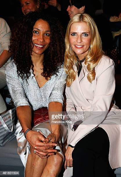 Annabelle Mandeng and Tanja Buelter attend the Marc Cain show during the MercedesBenz Fashion Week Berlin Autumn/Winter 2015/16 at Brandenburg Gate...
