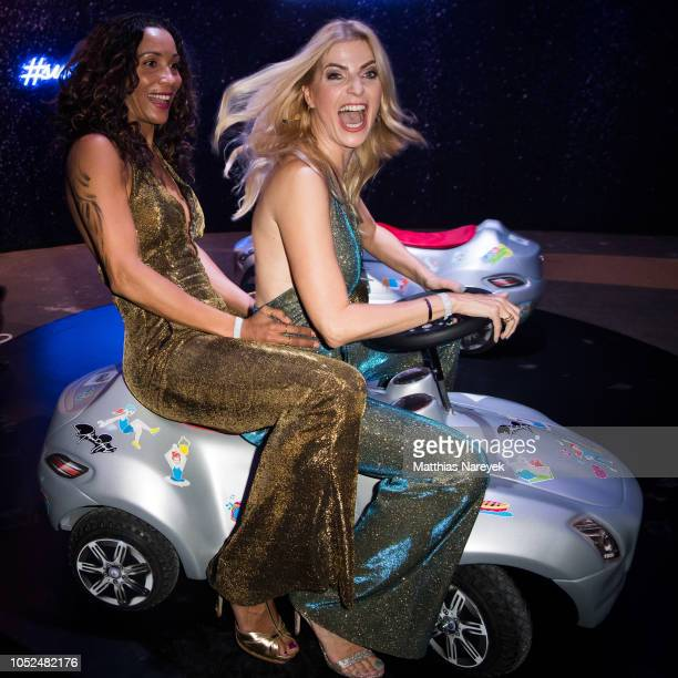 Annabelle Mandeng and Tanja Buelter attend the Tribute To Bambi after show party at Kraftwerk Mitte on October 18 2018 in Berlin Germany