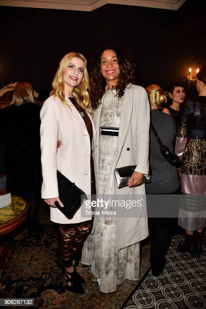 Annabelle Mandeng and Tanja Buelter during the Marcel Ostertag Fashion Presentation on January 17 2018 in Berlin Germany