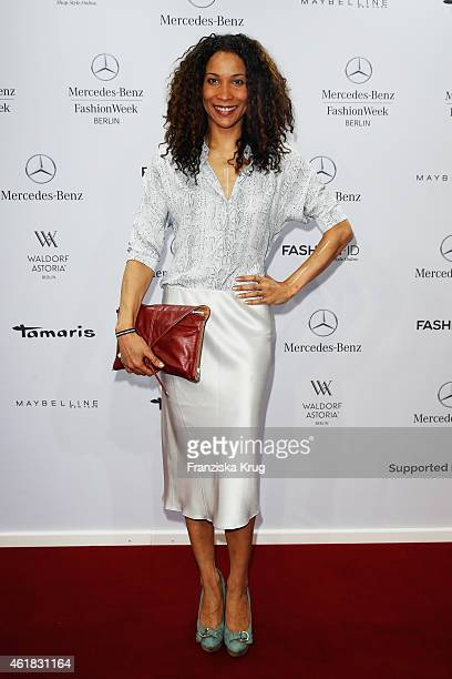Annabelle Mandeng attends the Marc Cain show during the MercedesBenz Fashion Week Berlin Autumn/Winter 2015/16 at Brandenburg Gate on January 20 2015...