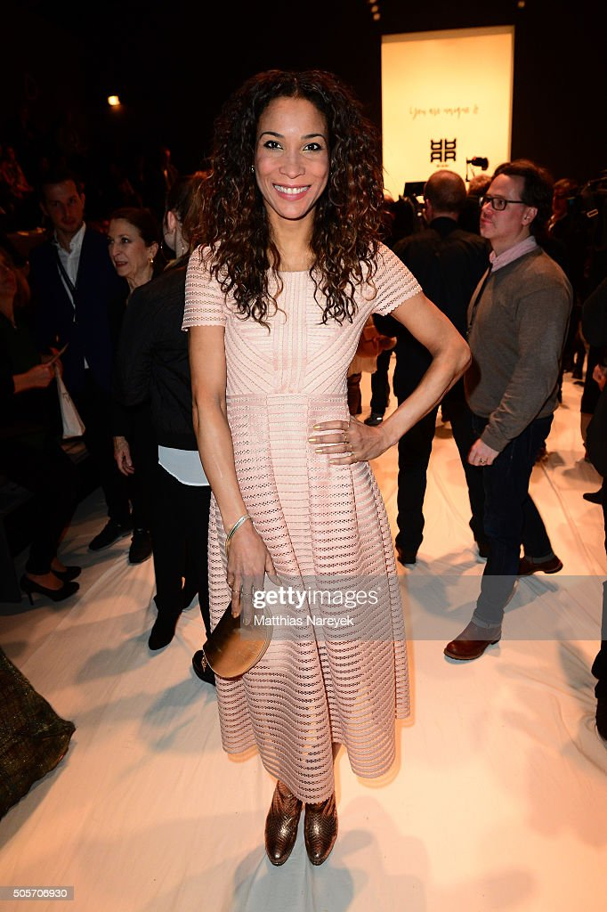 Annabelle Mandeng attends the Riani show during the Mercedes-Benz Fashion Week Berlin Autumn/Winter 2016 at Brandenburg Gate on January 19, 2016 in Berlin, Germany.