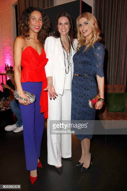 Annabelle Mandeng Katrin Wrobel and Tanja Buelter during the Bunte New Faces Night at Grace Hotel Zoo on January 15 2018 in Berlin Germany