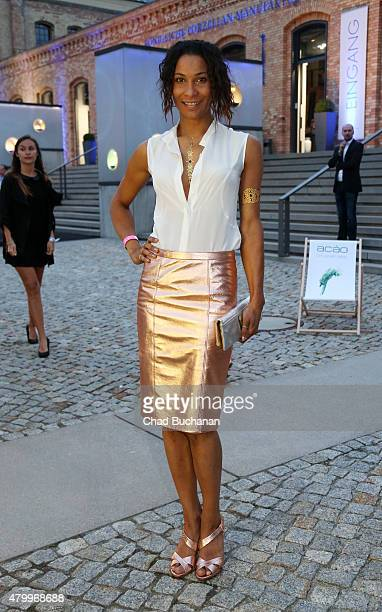 Annabelle Mandeng poses for photos at TULPEN DESIGN by Manuel Kirchner fashion dinner on July 8 2015 in Berlin Germany