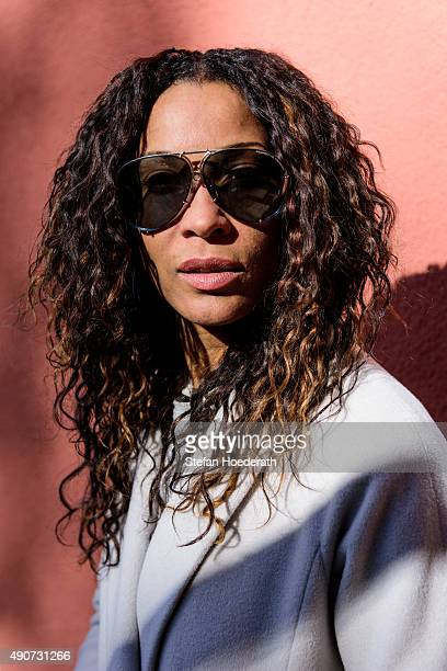 Annabelle Mandeng poses for the camera wearing sunglasses on September 30 2015 in Berlin Germany The 21st Leipziger Opernball will take place on...