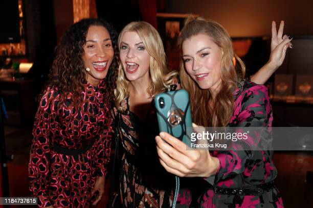 Annabelle Mandeng, Tanja Buelter and Annett Moeller during the Titanic Hotel and DKMS Life Christmas Charity Ladies Lunch on November 25, 2019 in...