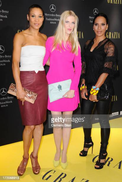 Annabelle Mandeng Tanja Buelter and Barbara Becker attend the MercedesBenz Fashion Week Berlin Spring/Summer 2014 Preview Show by Grazia at the...