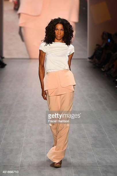 Annabelle Mandeng walks the runway at the 1981 Maxhosa By Laduma Soboye show during the MercedesBenz Fashion Week Spring/Summer 2015 at Erika Hess...