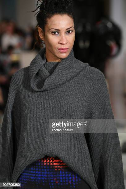 Annabelle Mandeng walks the runway during the Anja Gockel fashion show at Hotel Adlon on January 16 2018 in Berlin Germany