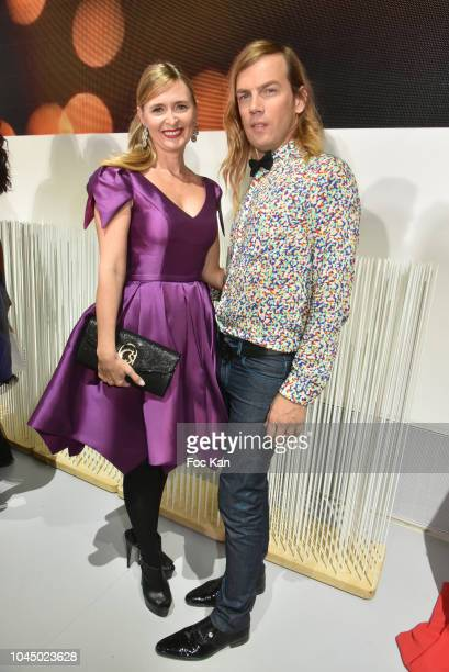 Annabelle Millot and Christophe Guillarmet attend the Christophe Guillarme show as part of the Paris Fashion Week Womenswear Spring/Summer 2019 on...