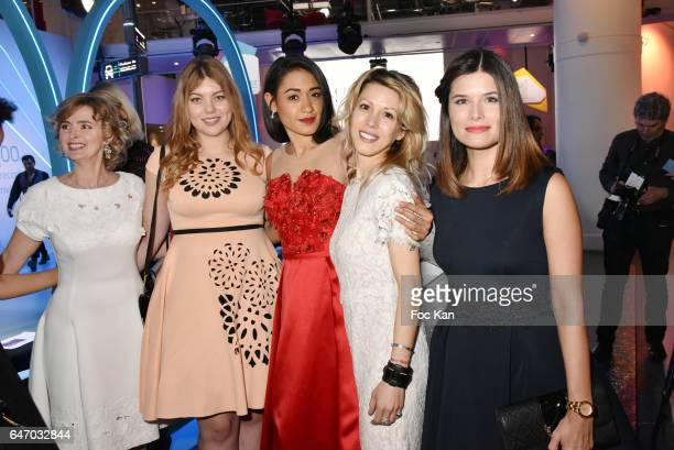 Annabelle Milot, Heloise Martin, Josephine Jober, Tristane Banon and Flavie Pean attend the Christophe Guillarme show as part of the Paris Fashion...