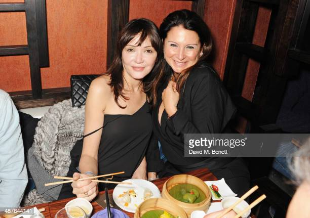Annabelle Neilson and Fran Cutler attend Fran Cutler's birthday dinner at Bo Lang on May 1 2014 in London England
