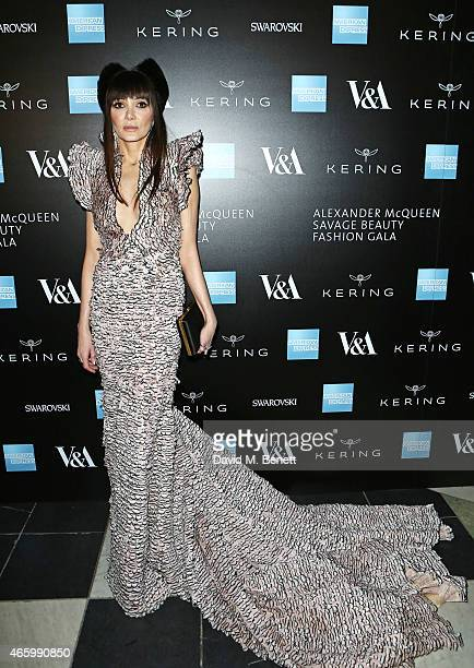 Annabelle Neilson arrives at the Alexander McQueen Savage Beauty Fashion Gala at the VA presented by American Express and Kering on March 12 2015 in...