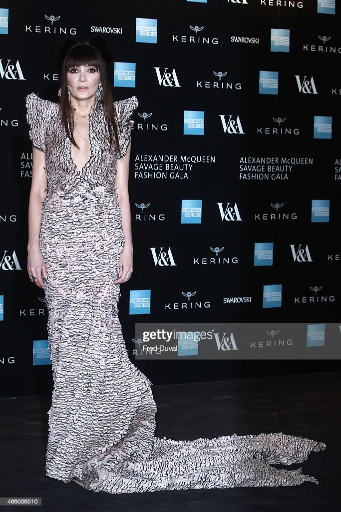 Annabelle Neilson attends a private view for the 'Alexander McQueen: Savage Beauty' exhibition at Victoria & Albert Museum on March 12, 2015 in London, England.