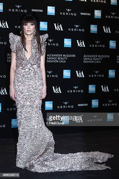 Annabelle Neilson attends a private view for the 'Alexander McQueen Savage Beauty' exhibition at Victoria Albert Museum on March 12 2015 in London...