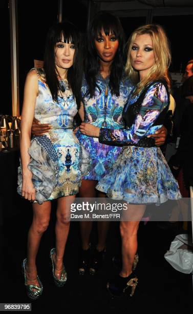 Annabelle Neilson Naomi Campbell and Kate Moss pose backstage during Naomi Campbell's Fashion For Relief Haiti London 2010 Fashion Show at Somerset...