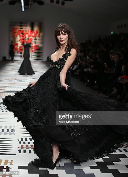 Annabelle Neilson walks the runway at the Fashion For Relief charity fashion show to kick off London Fashion Week Fall/Winter 2015/16 at Somerset...