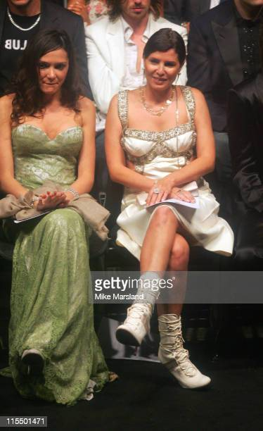 Annabelle Nielsen and Sadie Frost during Alexander McQueen American Express Black Fashion Show at Earls Court in London Great Britain