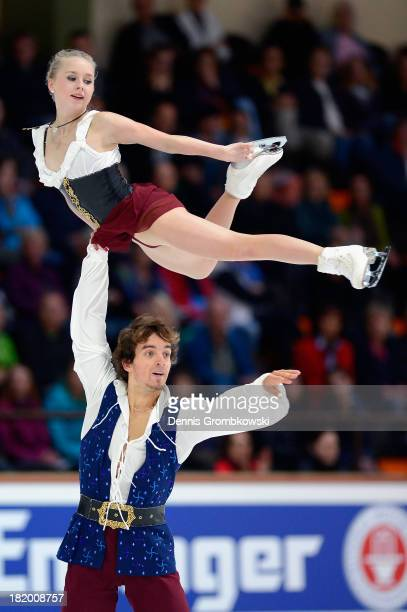 Annabelle Proells and Ruben Blommaert of Germany compete in the Pair's Free Skating competition during day two of the ISU Nebelhorn Trophy at...