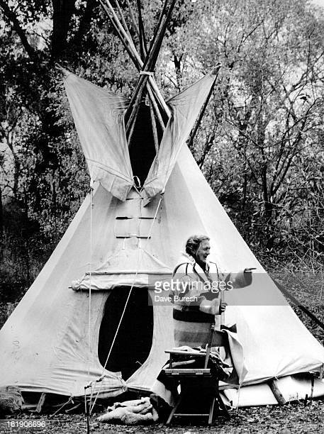OCT 11 1987 Annabelle Smith is in front of the Teepee at the Indian Fall Fest a quarter of a mile So of Hygiene She is almost 70 and still knows how...