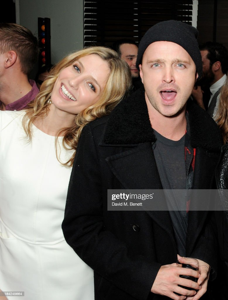Annabelle Wallis (L) and Aaron Paul attend the 'Hello Carter' post-screening party at The Groucho Club on October 12, 2013 in London, England.