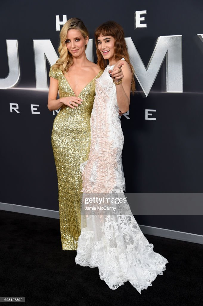 Annabelle Wallis and Sofia Boutella attends the 'The Mummy' New York Fan Event at AMC Loews Lincoln Square on June 6, 2017 in New York City.