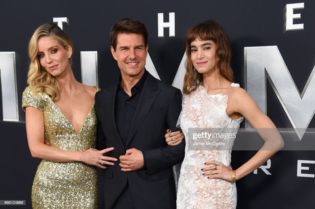Annabelle Wallis, Tom Cruise and Sofia Boutella attends the 'The Mummy' New York Fan Event at AMC Loews Lincoln Square on June 6, 2017 in New York City.