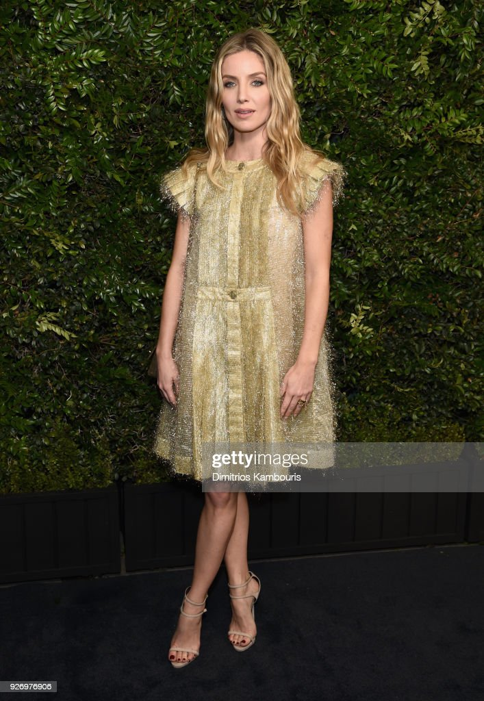 Annabelle Wallis, wearing CHANEL, attends Charles Finch and Chanel Pre-Oscar Awards Dinner at Madeo in Beverly Hills on March 3, 2018 in Beverly Hills, California.
