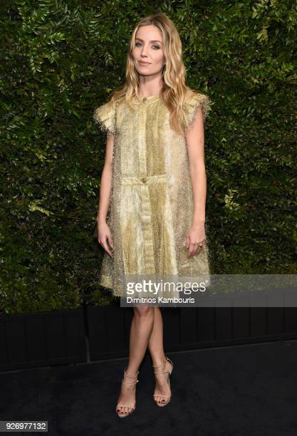 Annabelle Wallis wearing CHANEL attends Charles Finch and Chanel PreOscar Awards Dinner at Madeo in Beverly Hills on March 3 2018 in Beverly Hills...