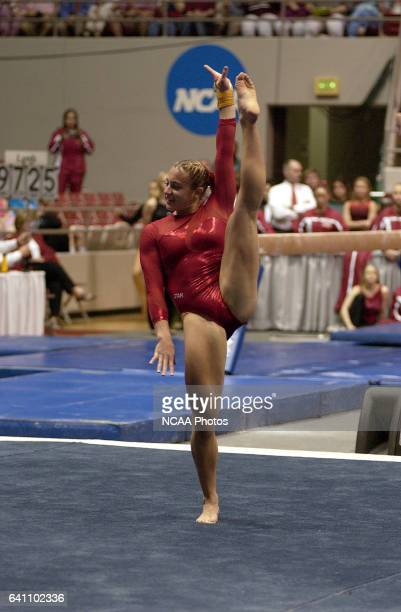 Annabeth Eberle of the University of Utah competes in the floor exercise during the Super Six Team Finals of the NCAA Women's Division 1 Gymnastics...