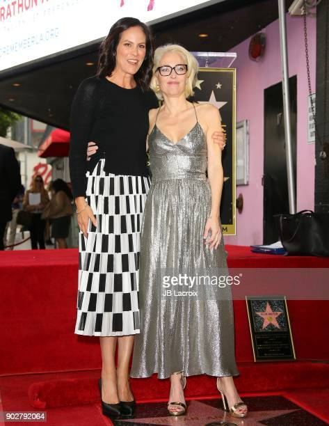 Annabeth Gish and Gillian Anderson attend a ceremony honoring her with a star on The Hollywood Walk of Fame on on January 8 2018 in Los Angeles...