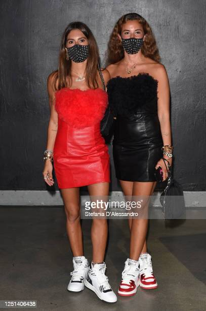 Annacarla Dall'Avo and Simona Carlucci are seen in the front row at the Aniye By fashion show at Magazzini Generali on June 22 2020 in Milan Italy
