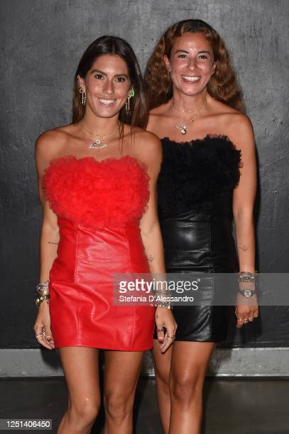 Annacarla Dall'Avo and Simona Carlucci are seen in the front row at the Aniye By fashion show at Magazzini Generali on June 22, 2020 in Milan, Italy.