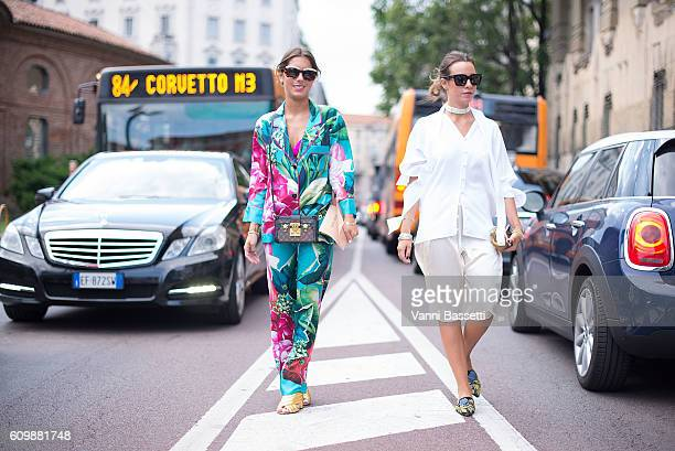 Annacarla dall'Avo and Simona Carlucci pose before the Alberta Ferretti show during Milan Fashion Week Spring/Summer 2017 on September 21 2016 in...