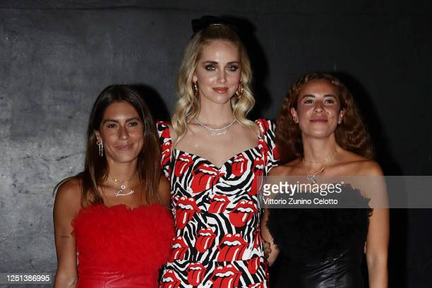 Annacarla Dall'Avo Chiara Ferragni and Simona Carlucci are seen in the front row at the Aniye By fashion show at Magazzini Generali on June 22 2020...