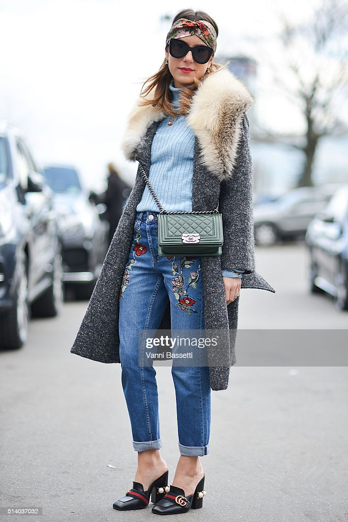 Annacarla Dall'Avo poses wearing a Scervino coat, Topshop turtrleneck and pants, Chanel bag and Gucci shoes after the Celine show at the Tennis Club de Paris show during Paris Fashion Week FW 16/17 on March 6, 2016 in Paris, France.