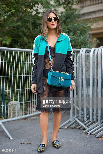 Annacarla dall'Avo poses wearing an Adidas jacket and a Gucci bag after the Giambattista Valli show at the Grand Palais during Paris Fashion Week...