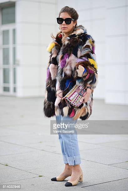 Annacarla Dall'Avo poses wearing an Essentiel fur Fendi bag and Chanel shoes before the Balenciaga show during Paris Fashion Week FW 16/17 on March 6...